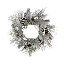 Festive - White berry and pine cone wreath