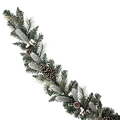 Festive - White and green berry and pine cone garland