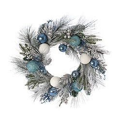 Festive - Blue leaf and bauble wreath