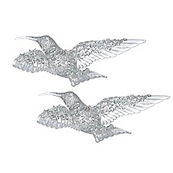 Gisela Graham - Set of two silver hummingbird decorations