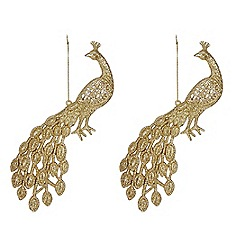 Gisela Graham - Set of two gold peacock decorations
