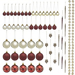 Debenhams - Set of 62 red and gold festive decorations