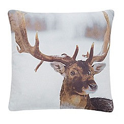 Debenhams - Grey stag photographic cushion