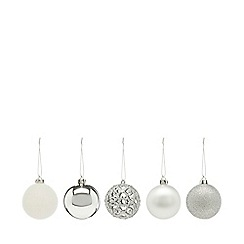 Home Collection - Pack of 20 silver glitter and plain Christmas baubles