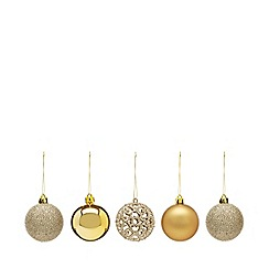 Home Collection - Pack of 20 gold glitter and plain Christmas baubles
