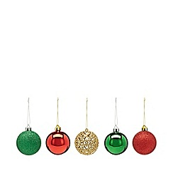 Home Collection - Pack of 20 assorted glitter and plain Christmas baubles
