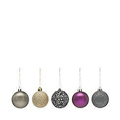 Home Collection - Pack of 20 gold and purple glitter and plain Christmas baubles