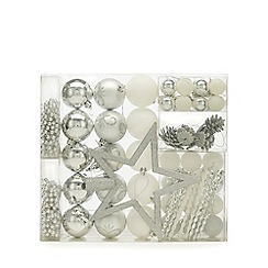 Home Collection - Pack of 62 silver and white baubles, beads and star Christmas set