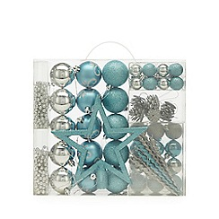 Home Collection - Pack of 62 silver and blue baubles, beads and star Christmas set