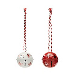 At home with Ashley Thomas - Pack of 12 red and white bell Christmas decorations