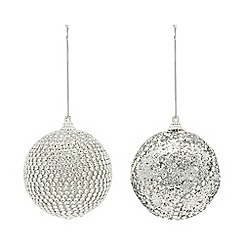 Home Collection - Pack of 6 silver glitter and diamante embellished Christmas baubles