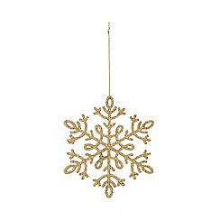 Home Collection - Set of eight gold glitter snowflake Christmas decorations