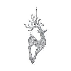 Home Collection - Pack of 4 silver glitter stag Christmas decorations