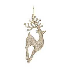 Home Collection - Pack of 4 gold glitter stag Christmas decorations