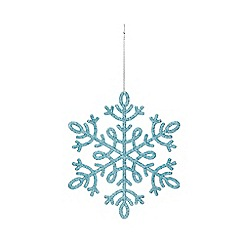 Home Collection - Pack of 8 blue glitter snowflake Christmas decorations