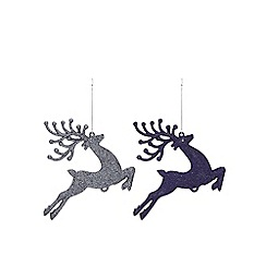 Home Collection - Pack of 4 blue glitter stag Christmas decorations