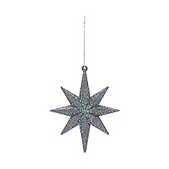Home Collection - Pack of 8 dark blue glitter star Christmas decorations