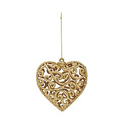 Home Collection - Pack of 4 gold heart glitter Christmas decorations