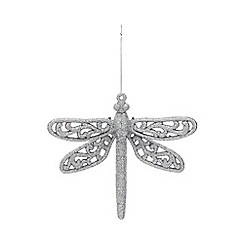 Home Collection - Pack of 3 silver glitter dragonfly Christmas decorations