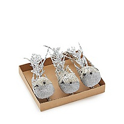 Home Collection - Pack of three silver bird clips Christmas decoration