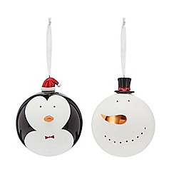 At home with Ashley Thomas - Pack of two multi-coloured glass penguin and snowman large Christmas baubles