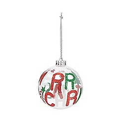 Home Collection - Pack of four multi-coloured 'Merry Christmas' Christmas baubles
