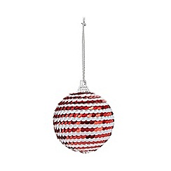 Home Collection - Pack of 6 red and white sequined Christmas baubles