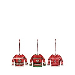 At home with Ashley Thomas - Pack of three red Christmas jumper Christmas decorations