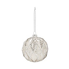 Home Collection - Silver cracked effect large Christmas bauble