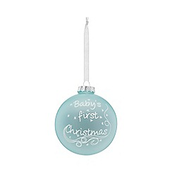 Home Collection - Blue glitter 'Baby's First Christmas' large Christmas bauble