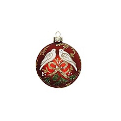 Gisela Graham - Red turtle dove print Christmas tree bauble