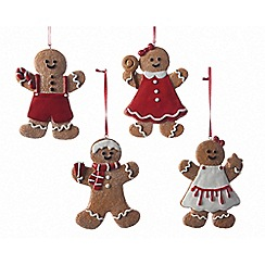 Kaemingk - Assortment of 4 gingerbread men Christmas tree decorations