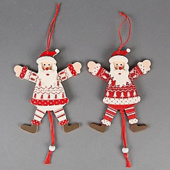 Sass & Belle - Multi-coloured wooden Santa Christmas hanging
