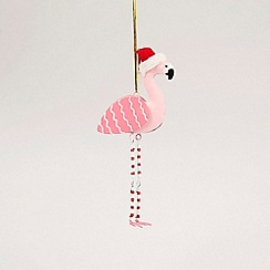 Sass & Belle - Multicoloured 'Flamingo In Santa Hat' Christmas decoration