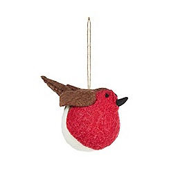 Home Collection - Multicoloured wool robin Christmas tree decoration