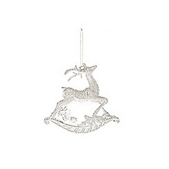 Gisela Graham - Gold glitter reindeer Christmas tree decoration