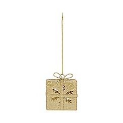 Home Collection - Gold glitter present Christmas decoration