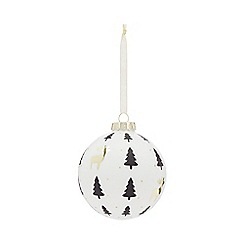 Home Collection - White Christmas tree and reindeer large Christmas bauble