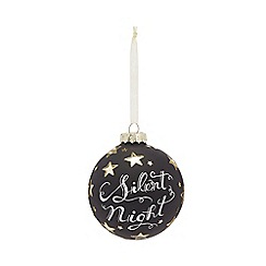 Home Collection - Black glitter 'Silent Night' large Christmas bauble