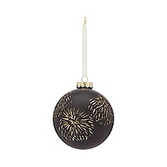 Home Collection - Black glitter firework large Christmas bauble