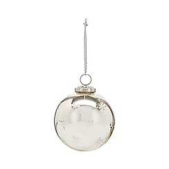 Home Collection - Silver embossed star large Christmas bauble