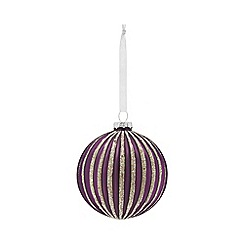 Home Collection - Purple glitter striped Christmas bauble
