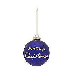 Home Collection - Blue glitter 'Merry Christmas' large Christmas bauble