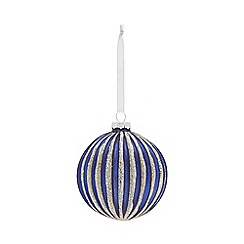 Home Collection - Navy glitter striped Christmas bauble