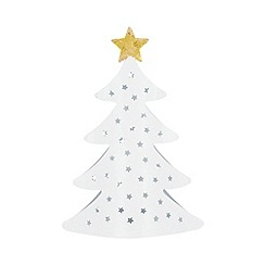 Home Collection - White glitter Christmas tea light holder