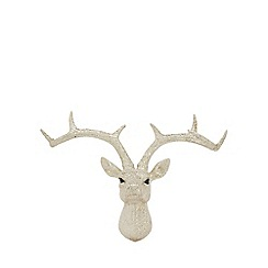 Home Collection - Silver glitter stags head Christmas decoration