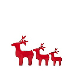 Home Collection - Pack of three red reindeer Christmas ornaments