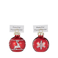 Home Collection - Pack of six red bauble Christmas name card holder