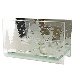 Kaemingk - Silver glass Christmas scene tea light holder