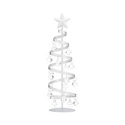 Home Collection - Silver glitter spiral Christmas tree ornament